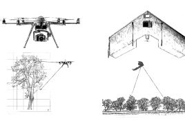 The take-off of the drone in conservation